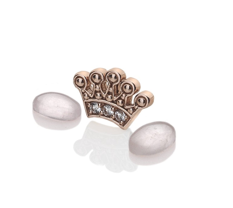 Rose Gold Plated Sterling Silver Crown With Rose Quartz Cabochons