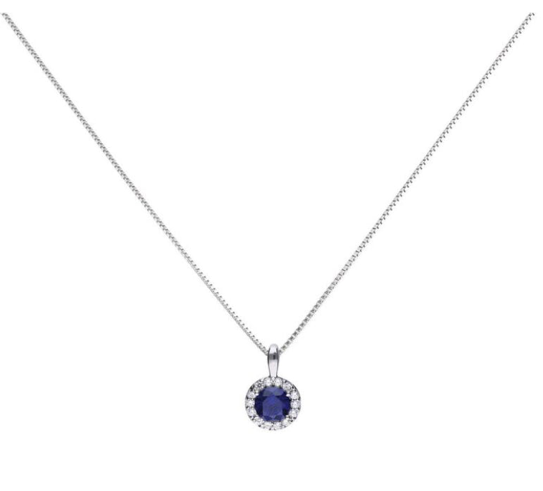 Blue Sapphire Coloured Solitaire Necklace