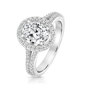 Oval Halo Style Ring With Pavé Set Split Shoulders
