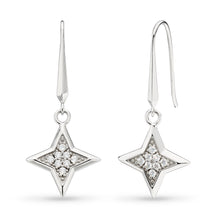 Load image into Gallery viewer, Empire Astoria Starburst CZ Star Drop Earrings