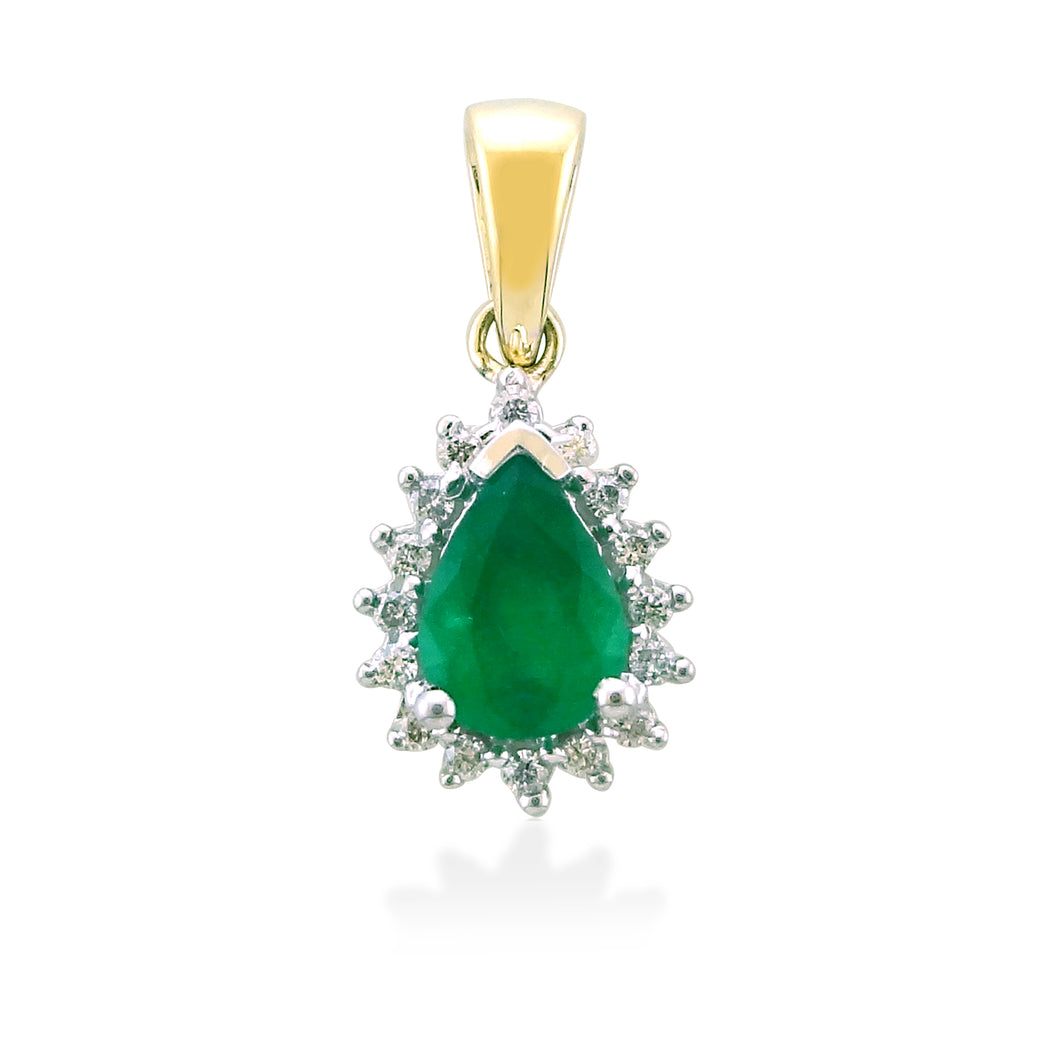 Emerald And Diamond Pear Shape Cluster Pendant