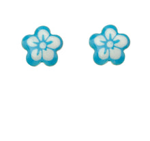 Load image into Gallery viewer, White And Blue Enamel Flower Stud Earrings