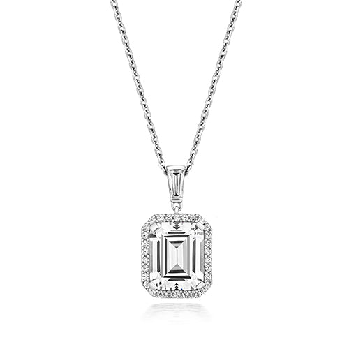 Halo Style 10x8mm Emerald Cut Pendant With Bale And Run Through Chain