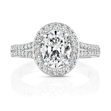 Load image into Gallery viewer, Oval Halo Style Ring With Pavé Set Split Shoulders