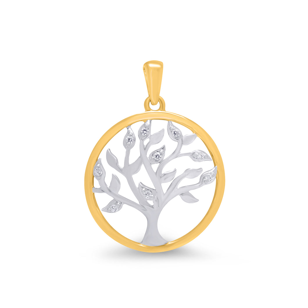 Tree Of Life Pendant - Yellow And White Gold With Diamonds