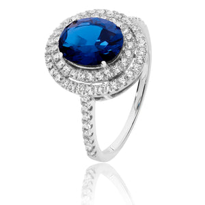 Silver CZ Double Halo Blue And White Oval CZ Ring