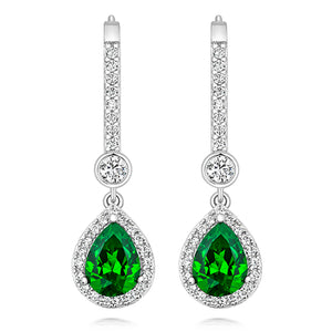 Halo Style Drop Earrings 8x6mm Green Pear Cut And 3mm Round Rub Over