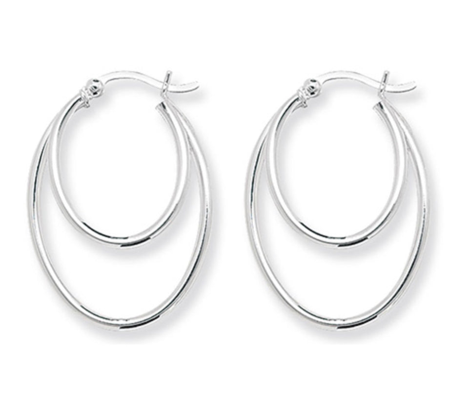 Silver Double Oval Hoop Earrings
