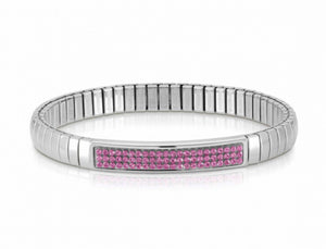 Glitter Stretch Bracelet With Pink Swarovski Crystals