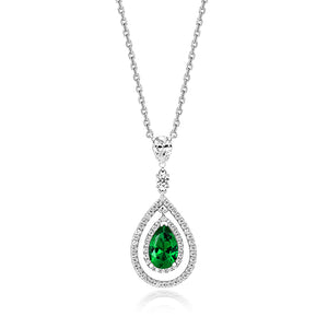Multi-Halo Swing Pendant With 9x6mm Green Pear Shape on Fixed Position Chain