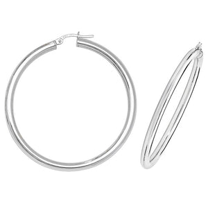 9ct White Gold 35mm Hoop Earrings