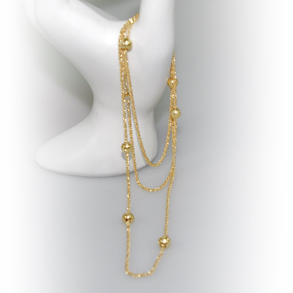 Yellow Gold Plated Sterling Silver Long Necklace With Beads