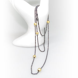 Oxidised Sterling Silver Long Necklace With Beads