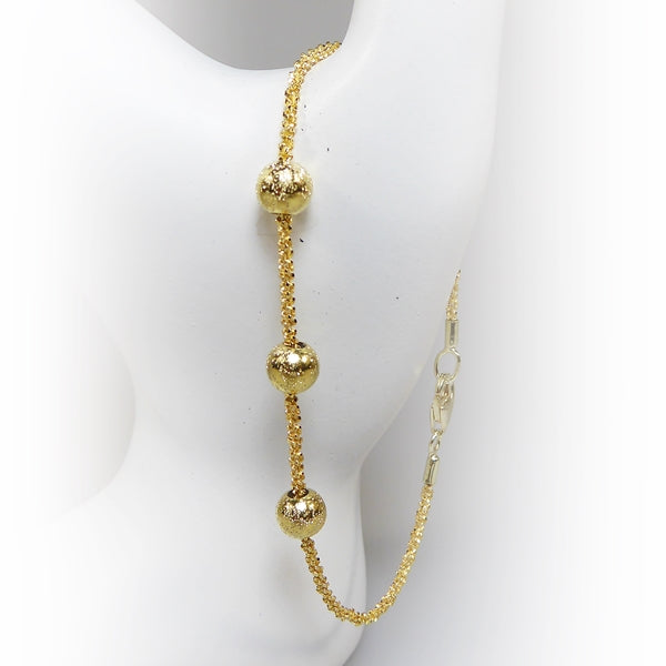 Yellow Gold Plated Sterling Silver Bracelet With Beads