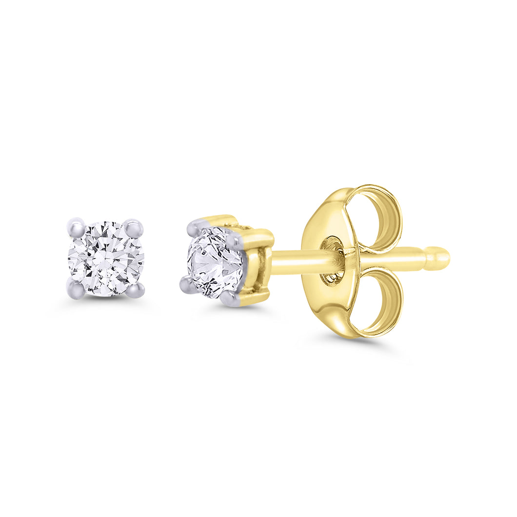 Yellow And White Gold Solitaire Diamond Stud Earrings 0.15cts