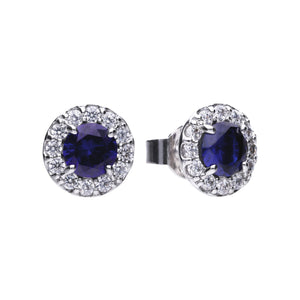 Blue Sapphire Coloured Solitaire Stud Earrings