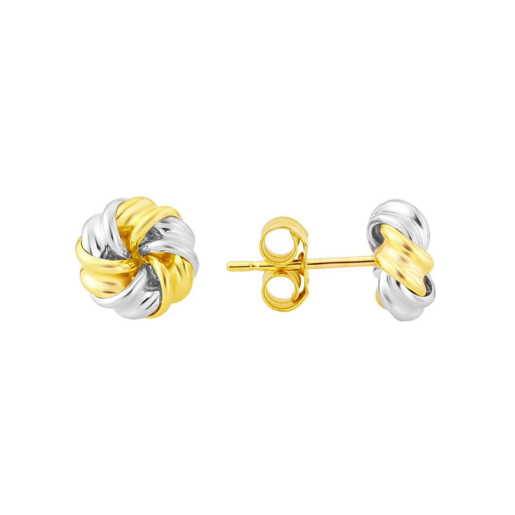 Yellow And White Gold Knot Stud Earrings