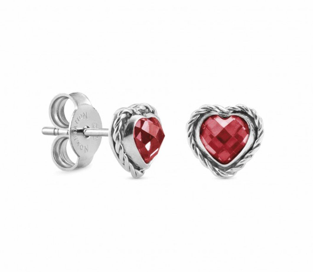 Heart-Shaped Earrings In Silver - Red