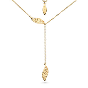 "Blossom Eden Silver Leaf Gold Plate Lariat 17"" Necklace"