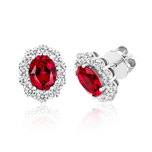 Large Cluster Claw Set Oval Earrings 9x7mm Red Oval Centre