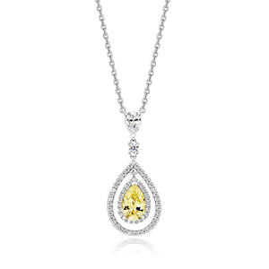 Multi-Halo Swing Pendant With 9x6mm Yellow Pear Shape On Fixed Position Chain