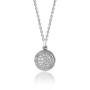 Silver Bezel Pavé Style Circle CZ Pendant And Chain