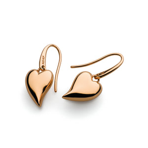 Desire Forever Lust Heart Rose Gold Plate Drop Earrings
