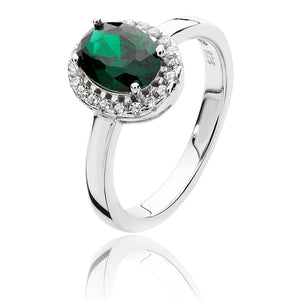 Silver CZ Halo Green And White Oval CZ Ring