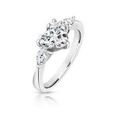 Load image into Gallery viewer, Three Stone Claw Set Ring Centre 8mm Heart And Pear Sides 5x3mm