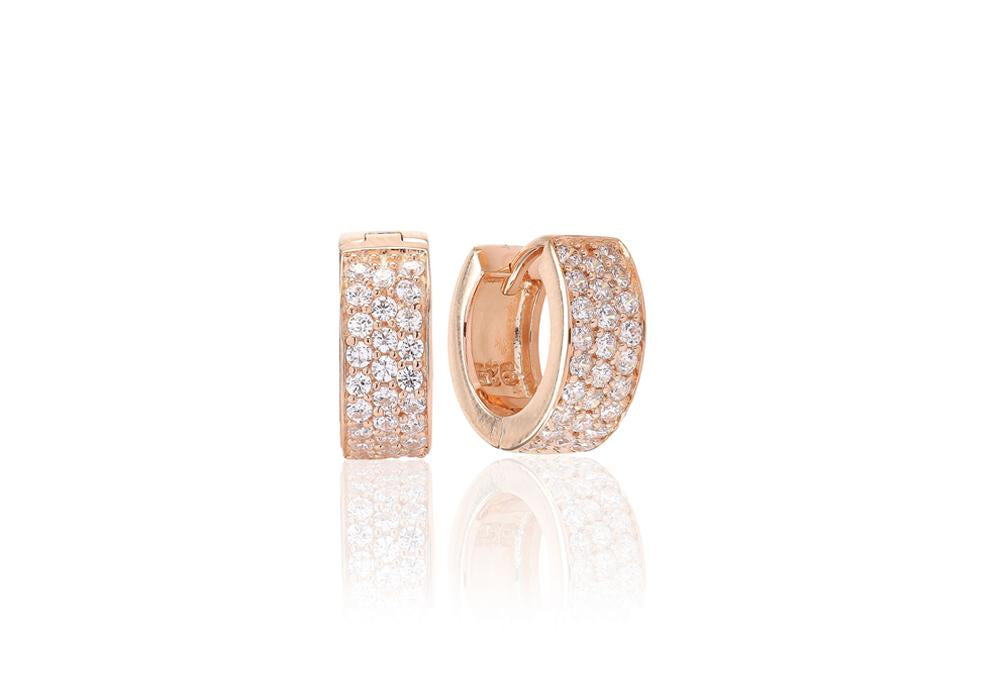 Earrings Empoli - 18K Rose Gold Plated With White Zirconia