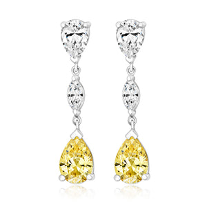 Triple Drop Earrings Set With Yellow And Clear Cubic Zirconia