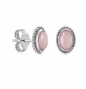 Oval Earrings With Natural Gemstone - Pink Opaline