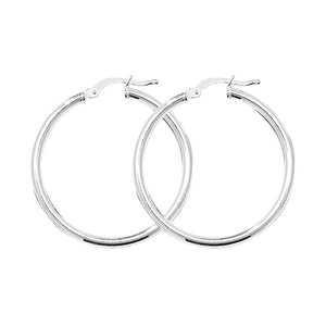 Silver 25mm Plain Hoop Earrings