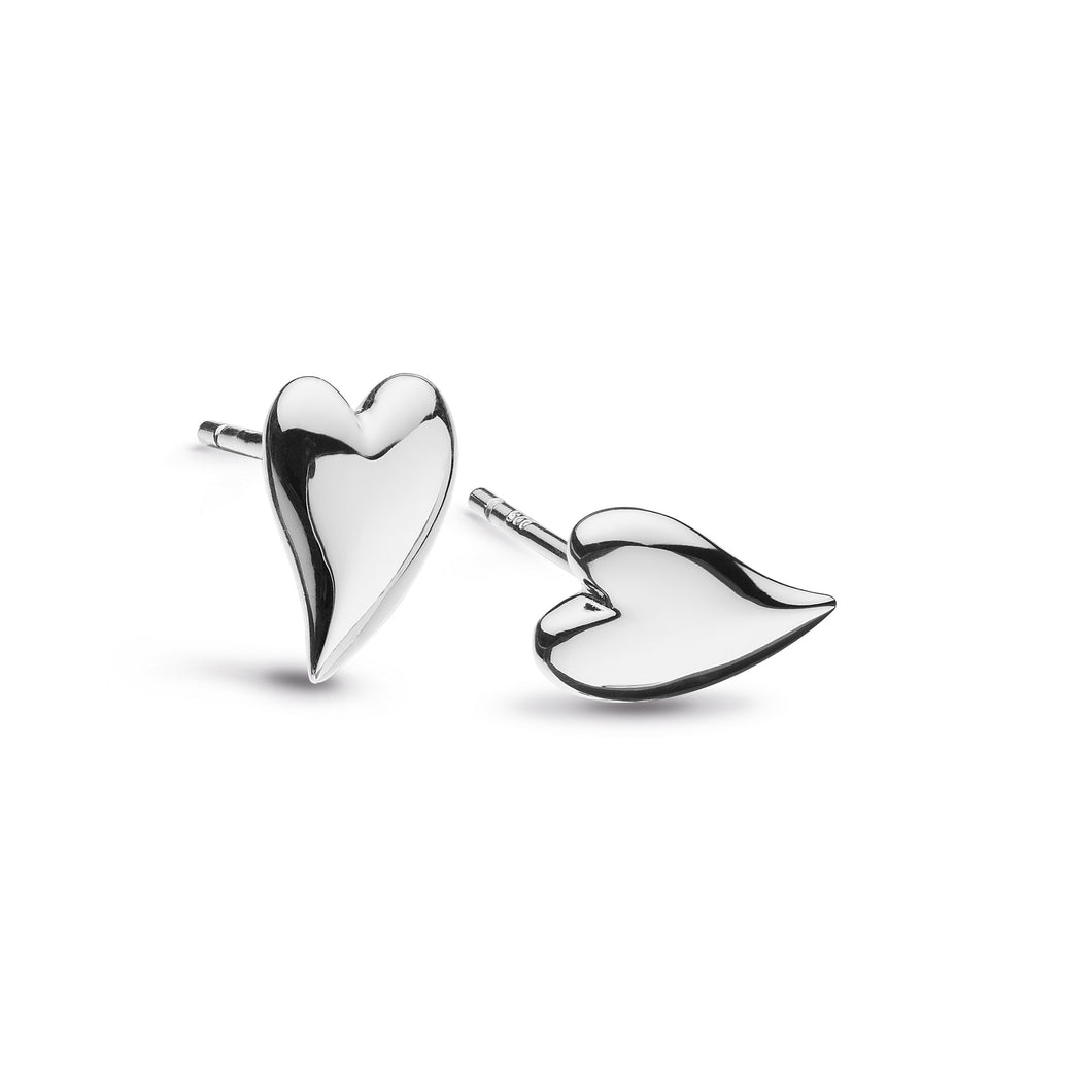 Desire Kiss Rhodium Plate Mini Heart Stud Earrings