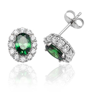 Silver Green And White Oval Cluster CZ Studs