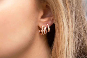 Earrings Ozieri Tre Piccolo - 18K Rose Gold Plated With White Zirconia