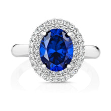 Load image into Gallery viewer, Double Halo Dress Ring With 10x8mm Blue Centre Oval