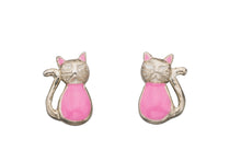Load image into Gallery viewer, Enamel Pink Cat Stud Earrings