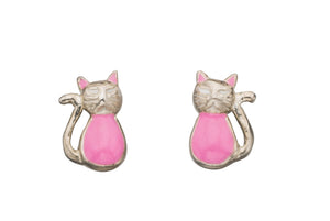 Enamel Pink Cat Stud Earrings