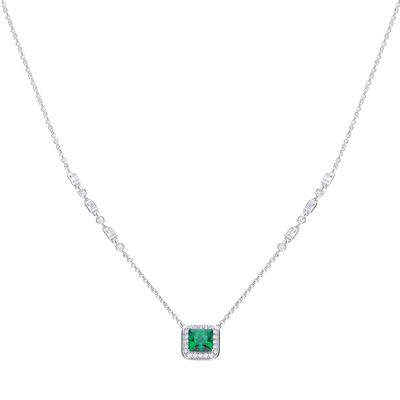 Art Deco Style Emerald CZ Pavé Necklace