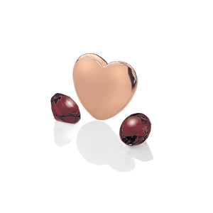 Rose Gold Plated Heart With Birthstone Cabochons