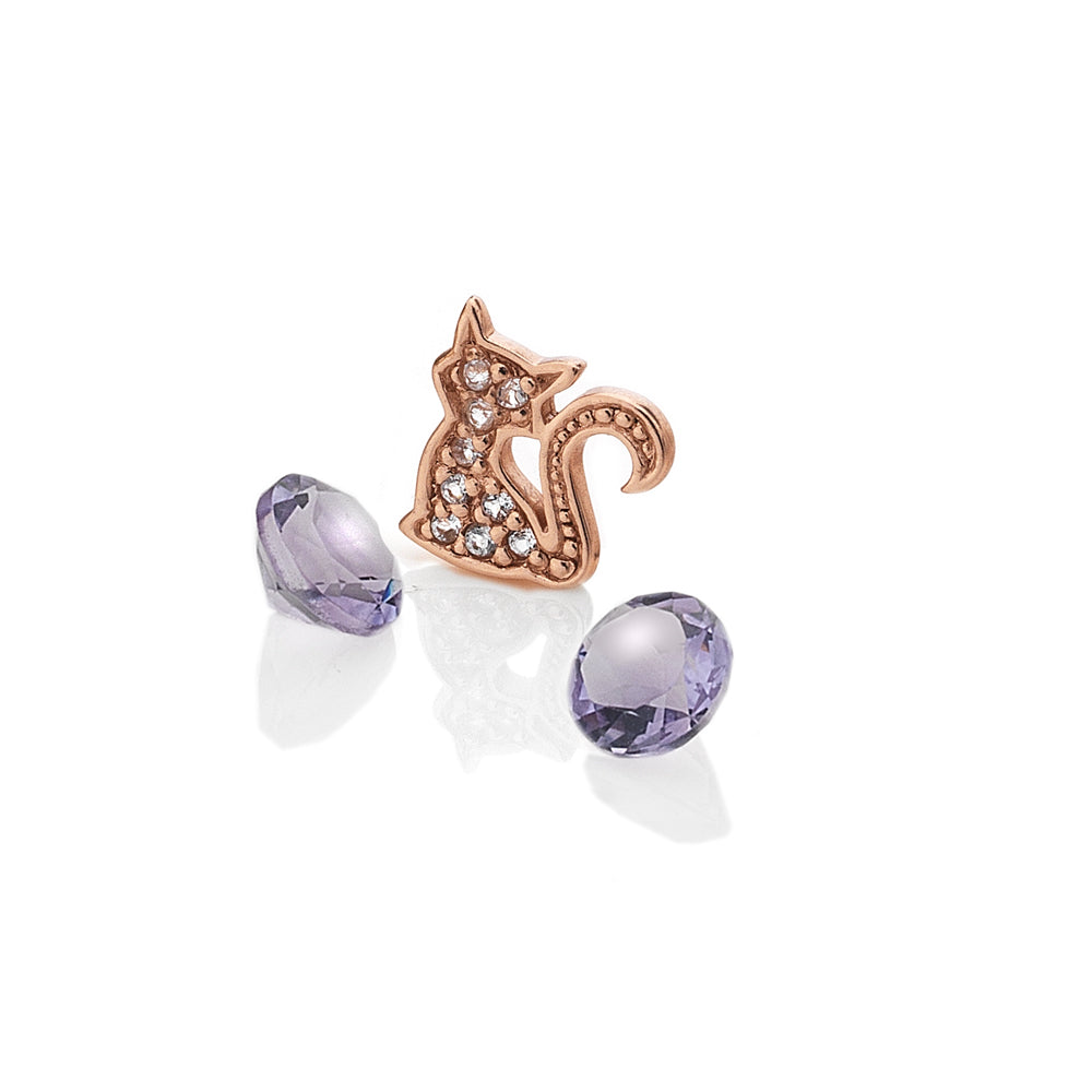 Rose Gold Plated Sterling Silver Cat With Amethyst Cabochons