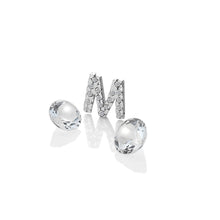 Load image into Gallery viewer, Sterling Silver Letter With White Topaz Cabochons
