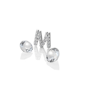 Sterling Silver Letter With White Topaz Cabochons