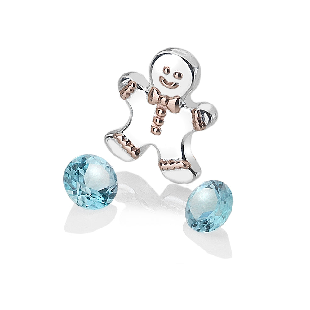 Gingerbread Man Charm With Blue Topaz Stones