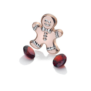 Rose Gold Plated Gingerbread Man Charm With Garnet Stones