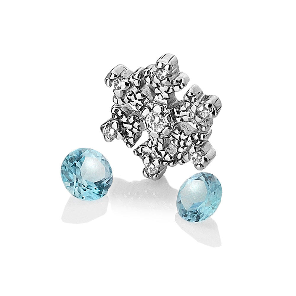 Snowflake Charm With Blue Topaz Stones