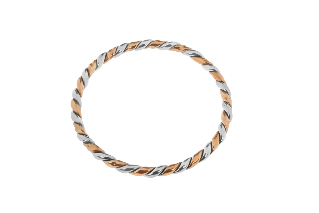 Copper And Sterling Silver Twist Bangle