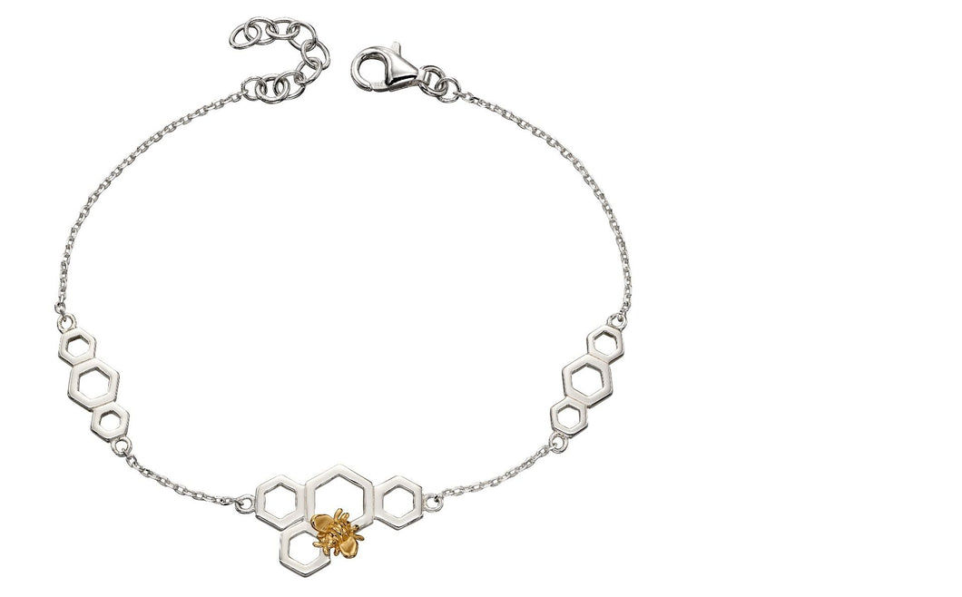 Bee And Honeycomb Sterling Silver And Yellow Gold Plated Bracelet