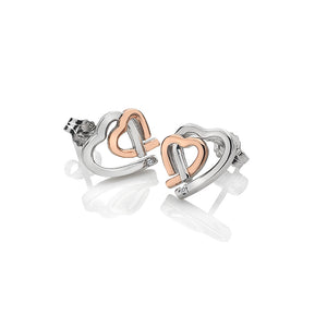 Warm Heart Earrings - Rose Gold Plate Accents